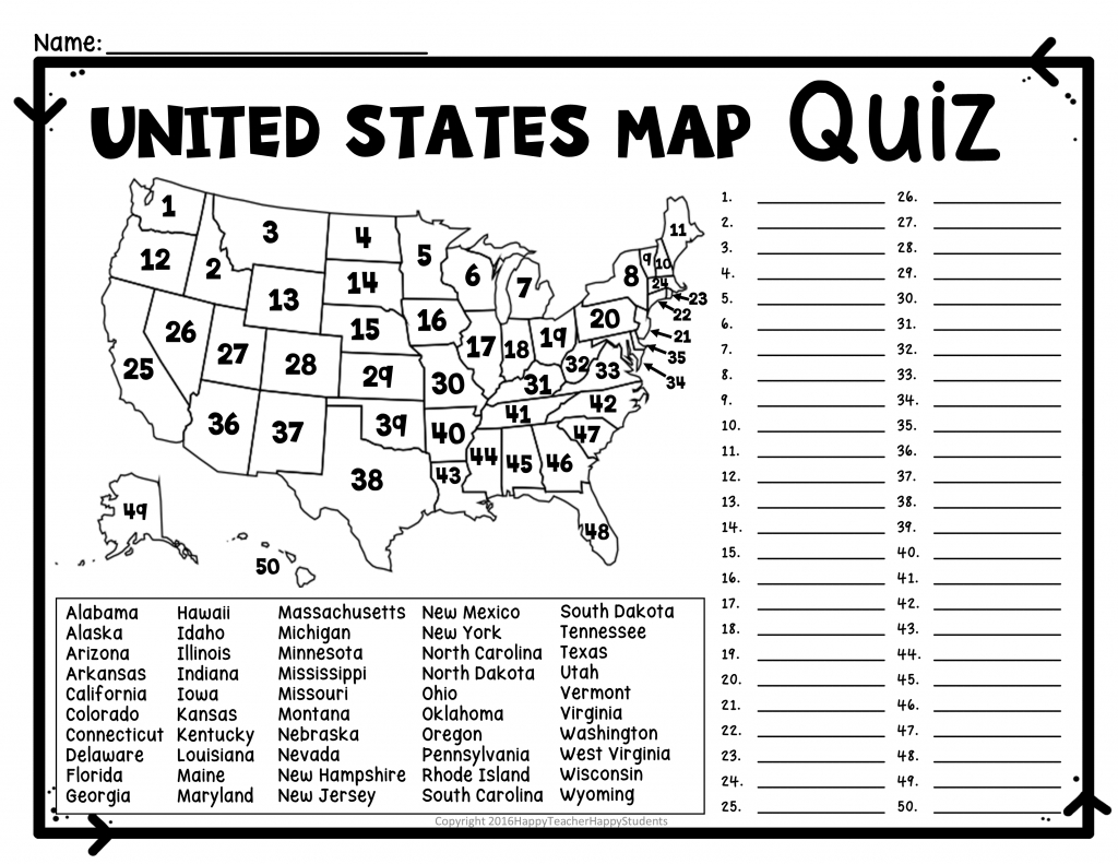 United States Map Quiz Printout Save Us State Map Quiz