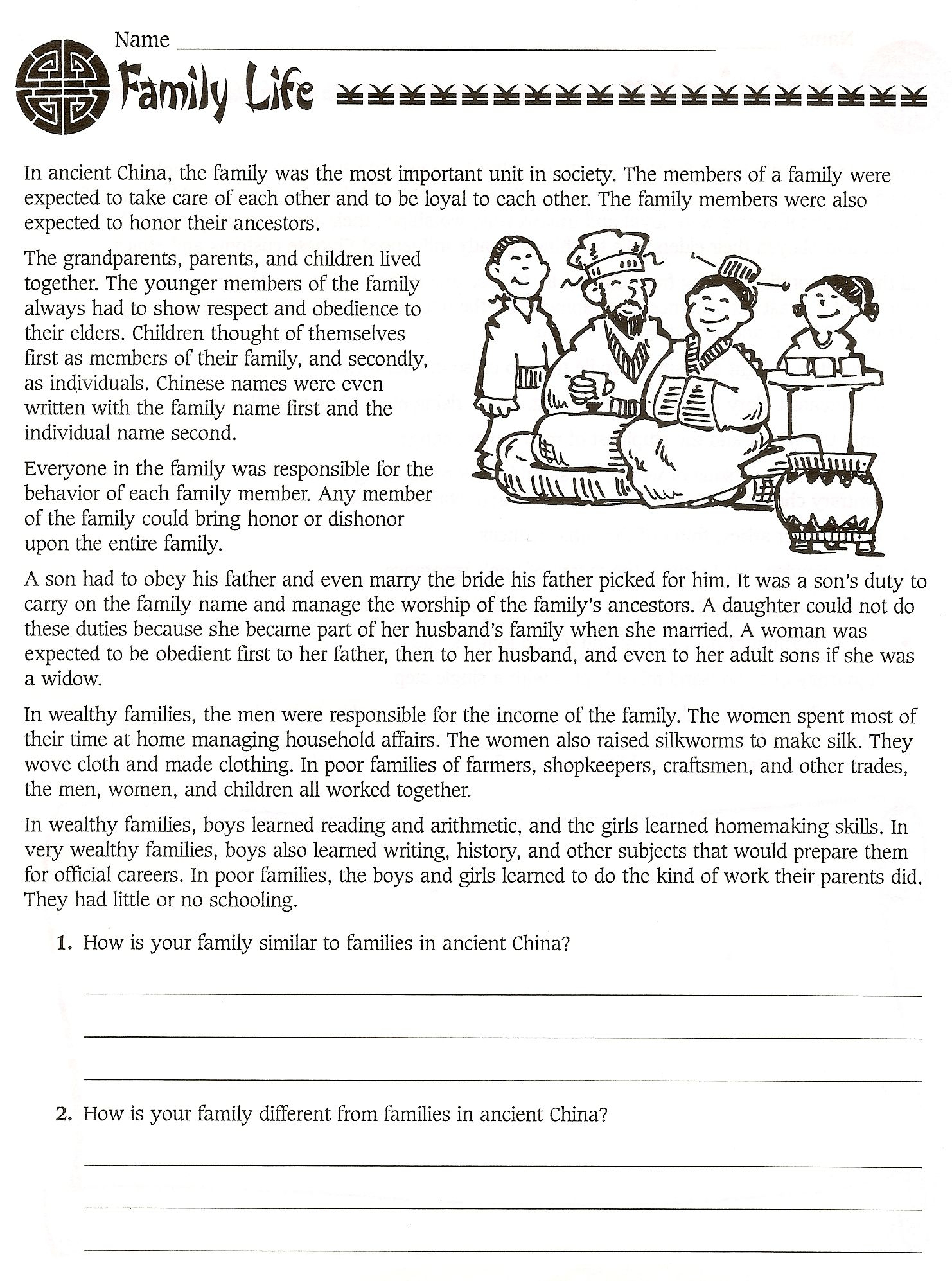 6th Grade Social Stu S Ancient China Worksheets