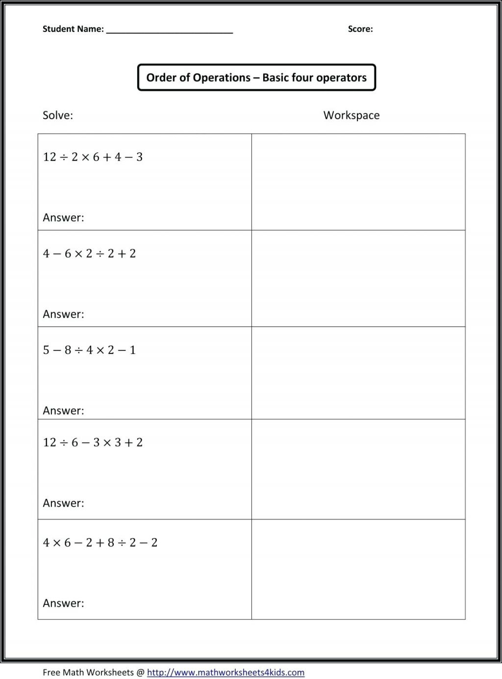 24 Printable Order Of Operations Worksheets To Master