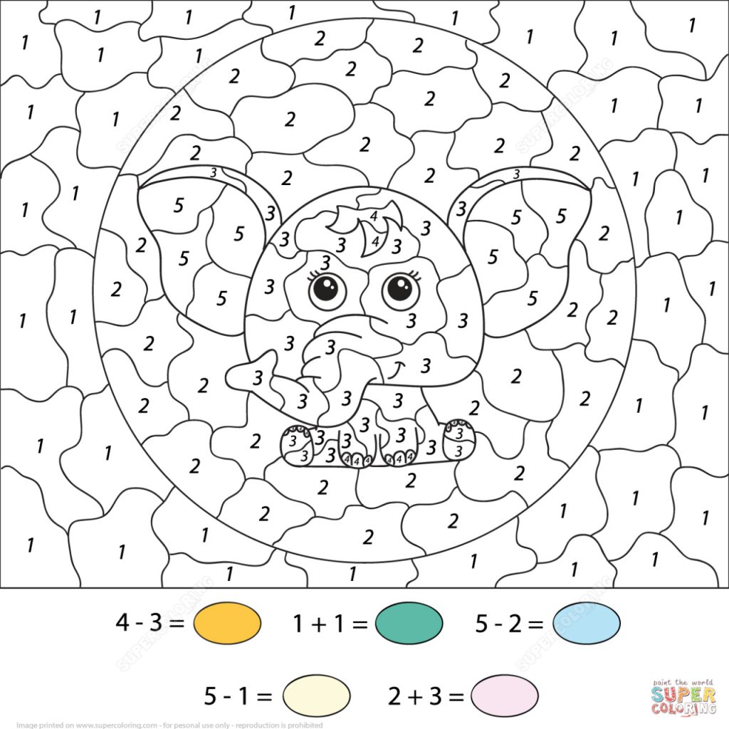 Coloring Colornumber Math Worksheets Authenticlour