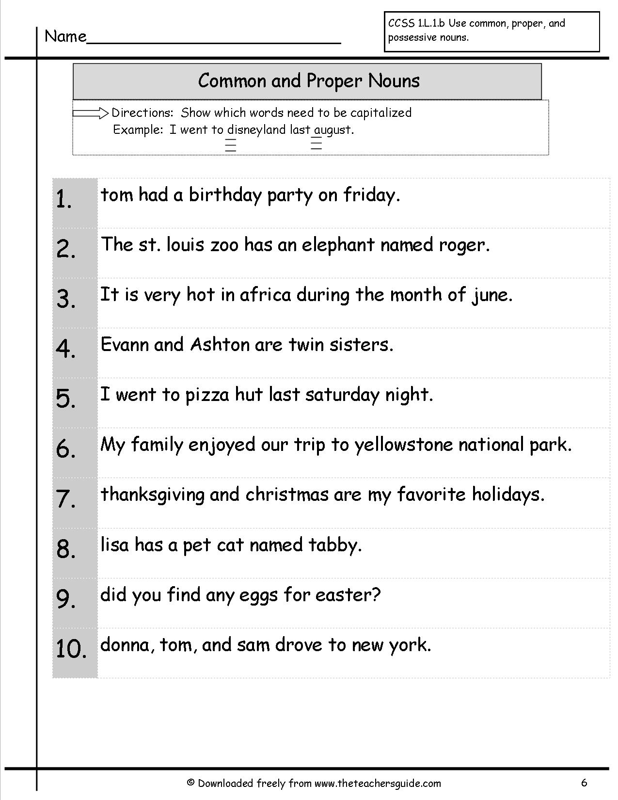 Common And Proper Nouns Worksheets From The Teacher S