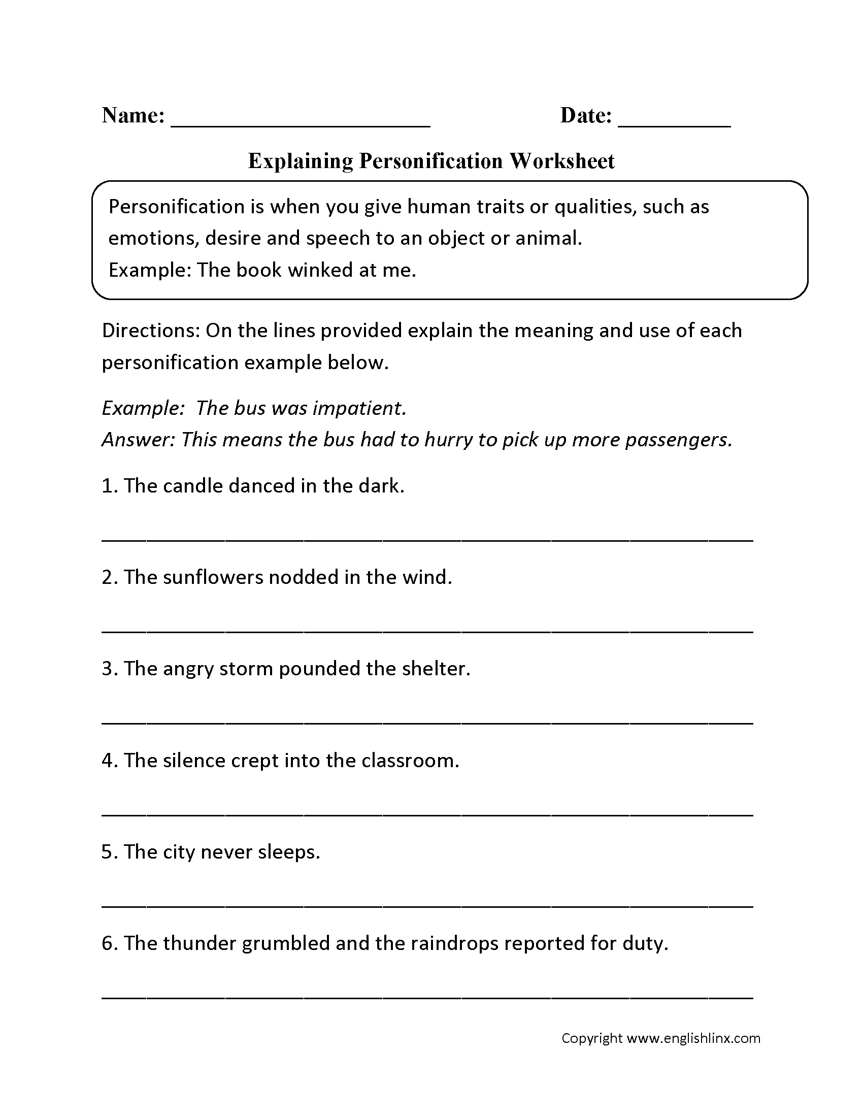 Explaining Personification Worksheet