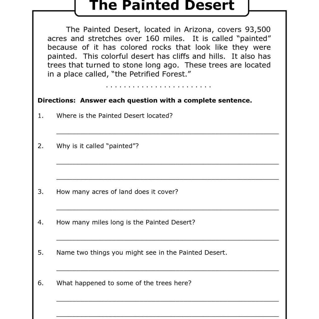 4th Grade Comprehension Worksheets Printable