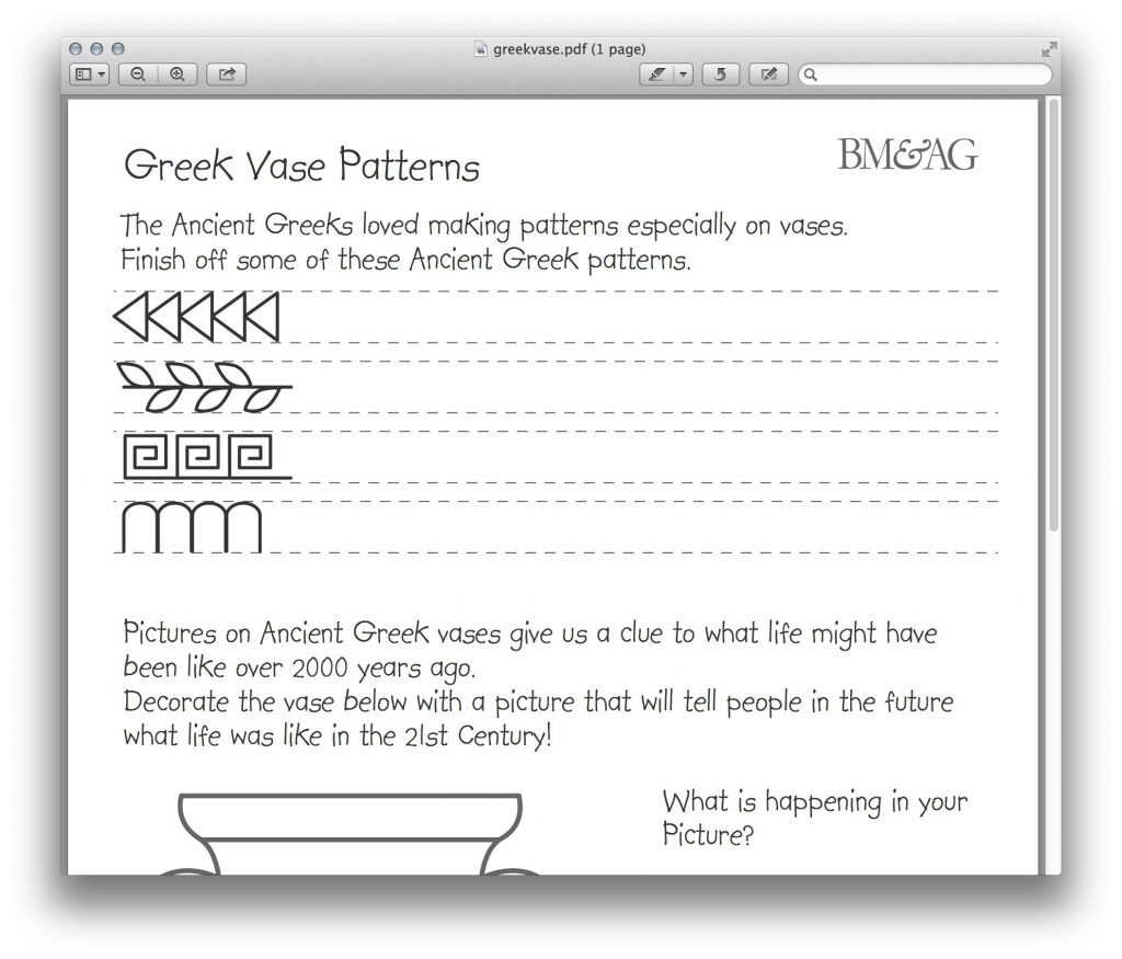 Greek Pottery And Patterns Worksheet Mystery Of History
