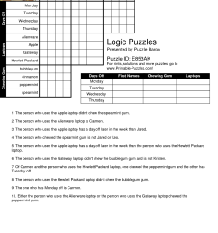Logic Puzzles Worksheets   Printable Worksheets and Activities for  Teachers [ 1754 x 1240 Pixel ]
