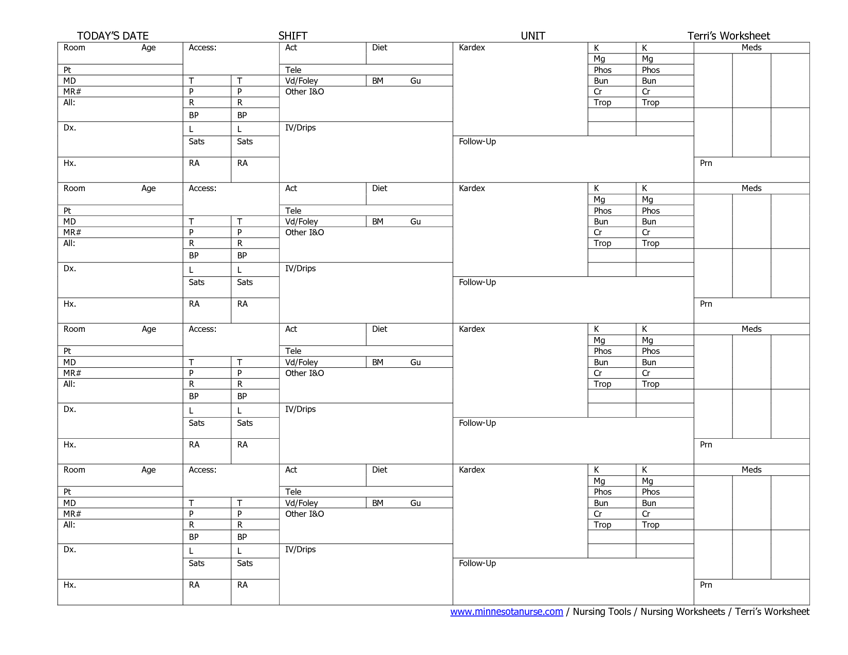 Nursing Worksheets Printable