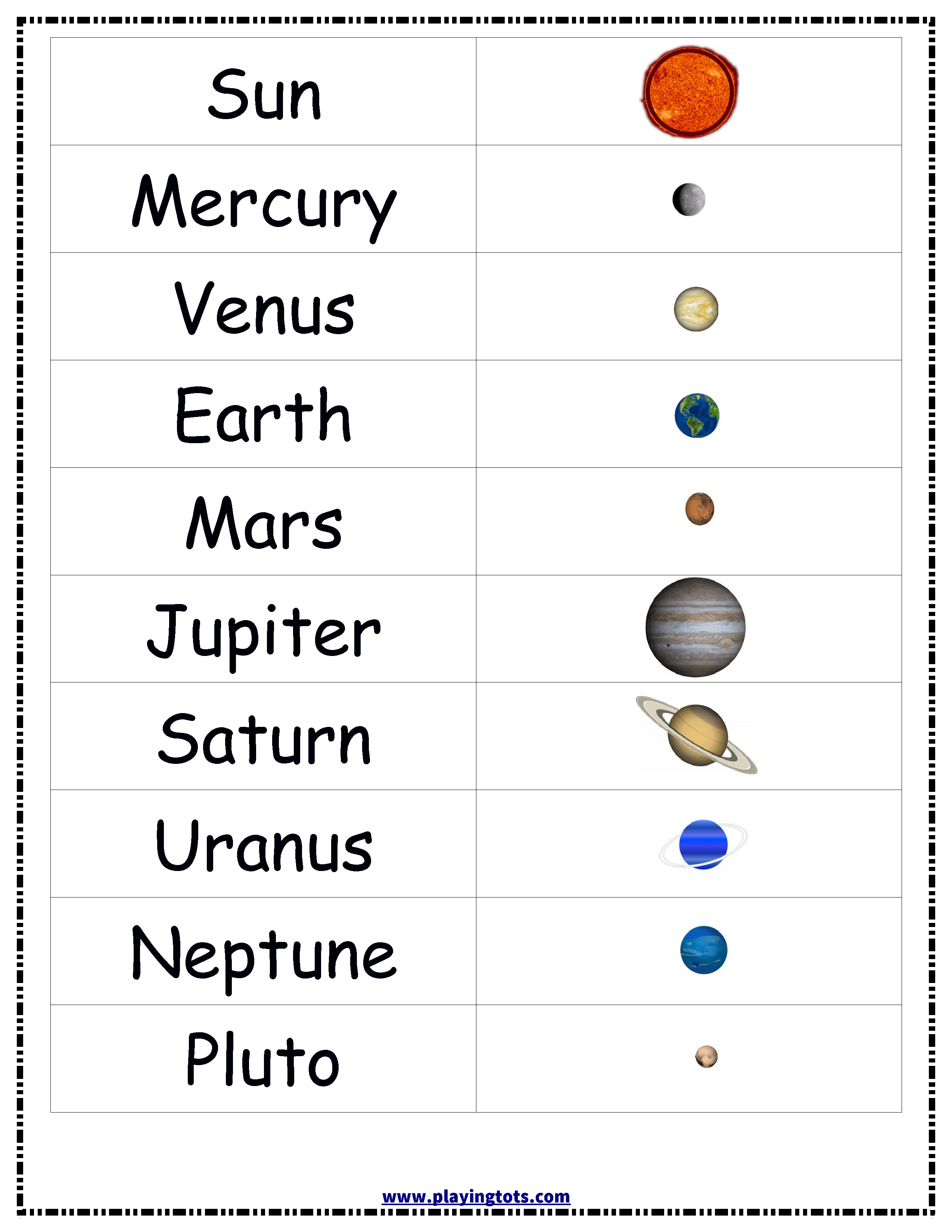 Planets Solar System Sun Earth Chart Free Printable