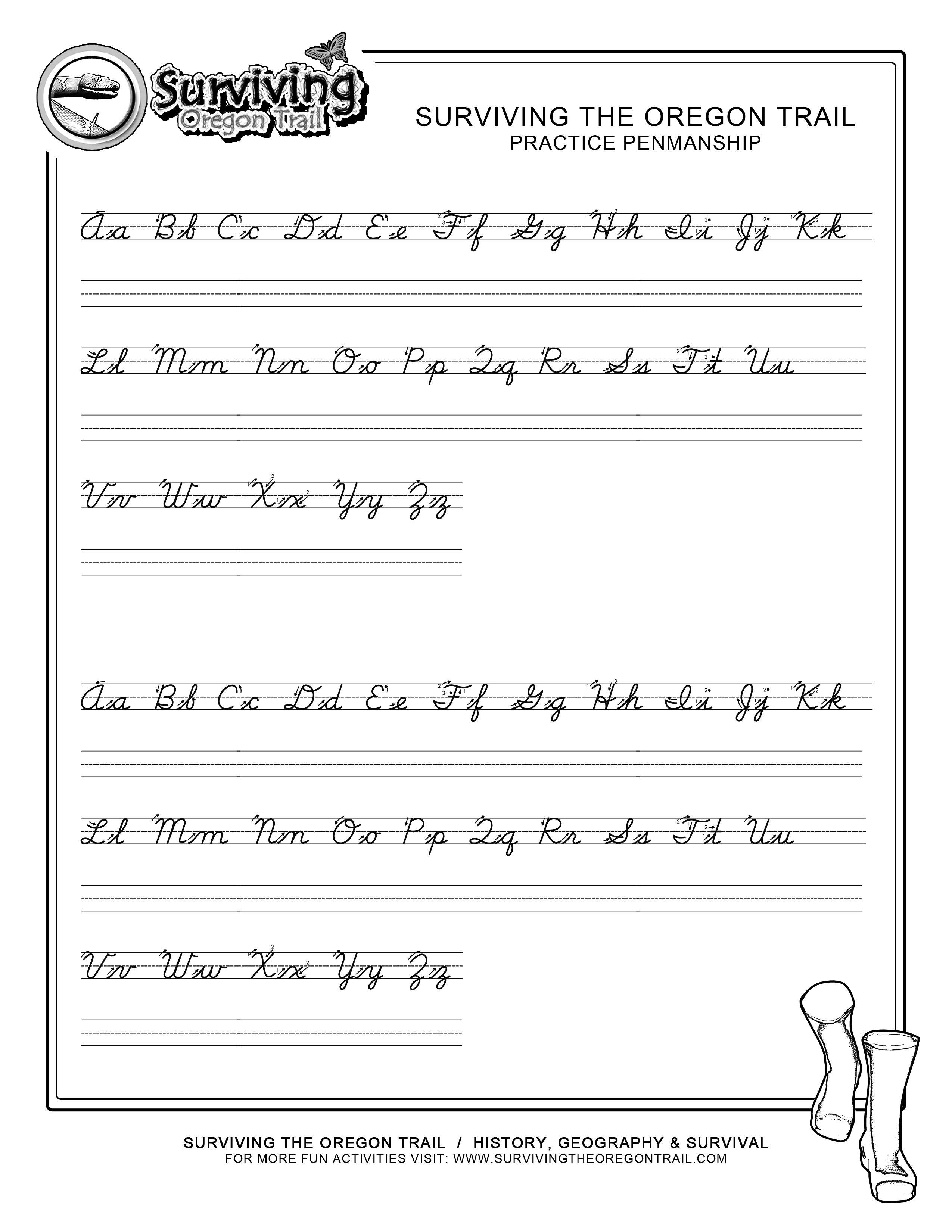 Free Printable Cursive Handwriting Worksheets
