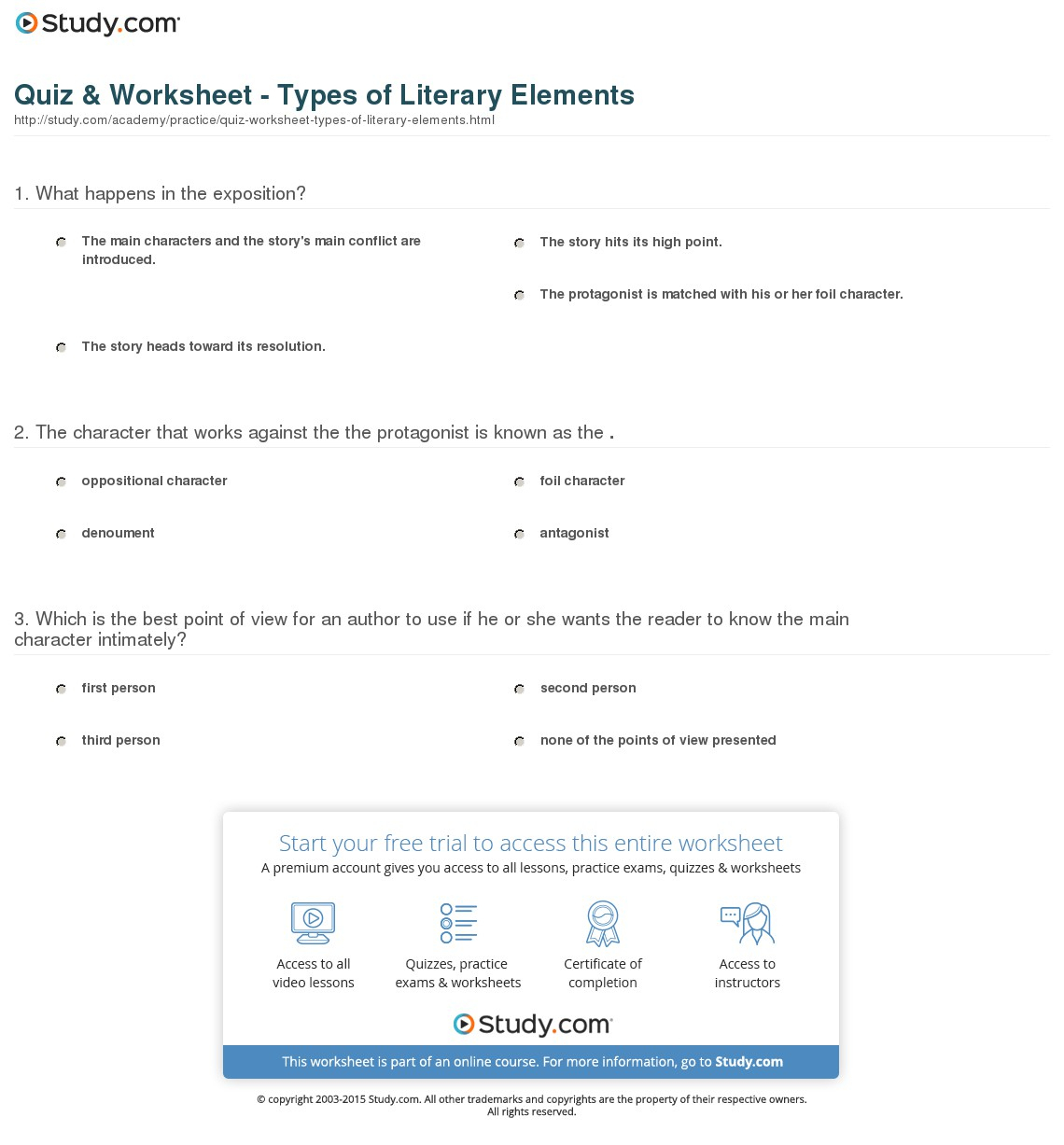 Elements Of A Story Worksheet Worksheets Reviewrevitol