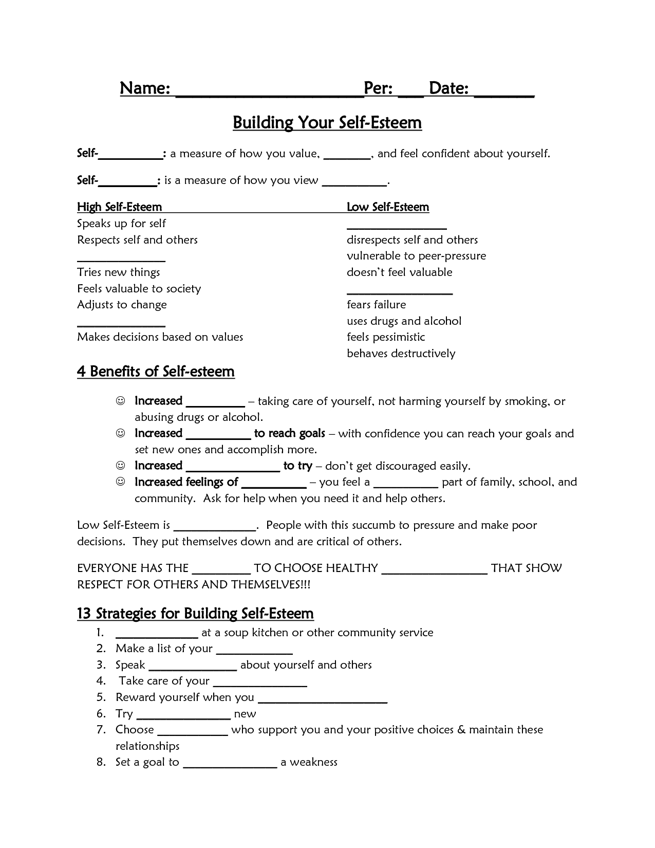 Printable Self Esteem Worksheets For Teenagers