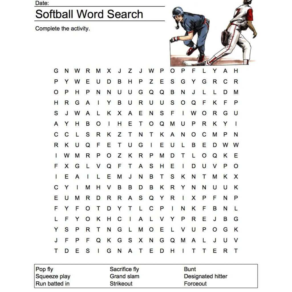 Softball Word Search Vocabulary Crossword And More
