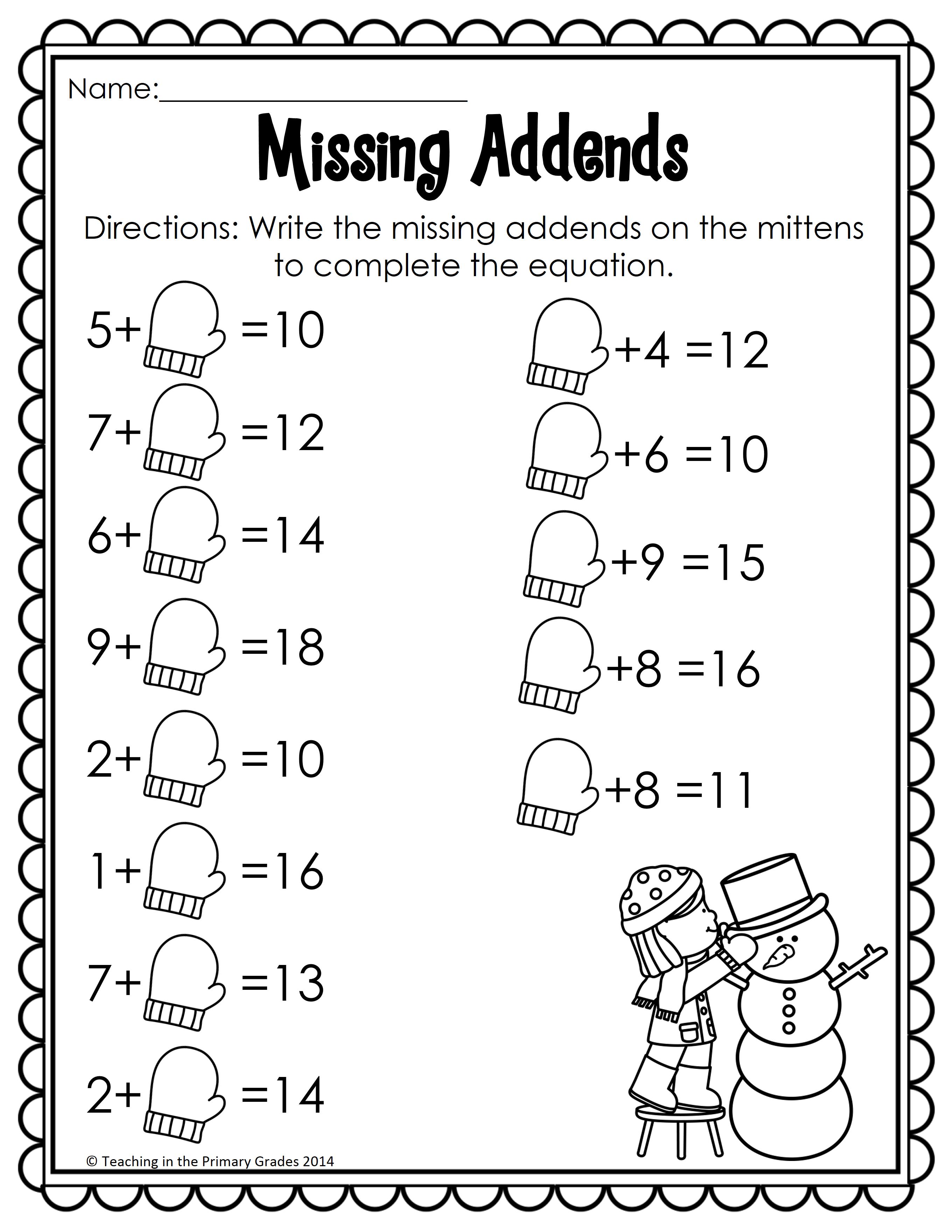 Winter Math And Literacy Printables No Prep