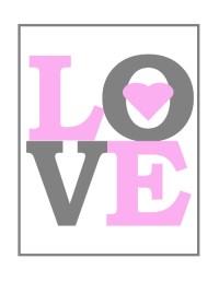 Printable Love Nursery Wall Art in Pink