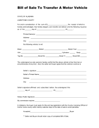 Free Alabama Vehicle Bill of Sale Form for Limestone ...