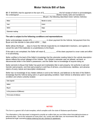 Free Alabama Vehicle Bill of Sale Form - Download PDF | Word