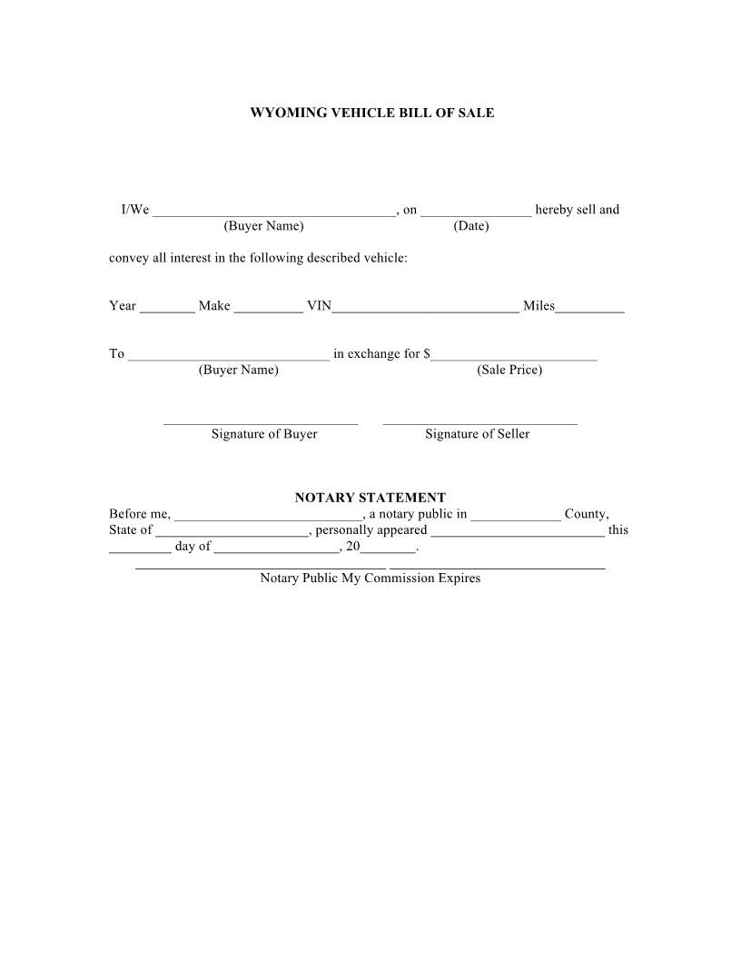 Free Printable Wyoming Vehicle Bill Of Sale Form