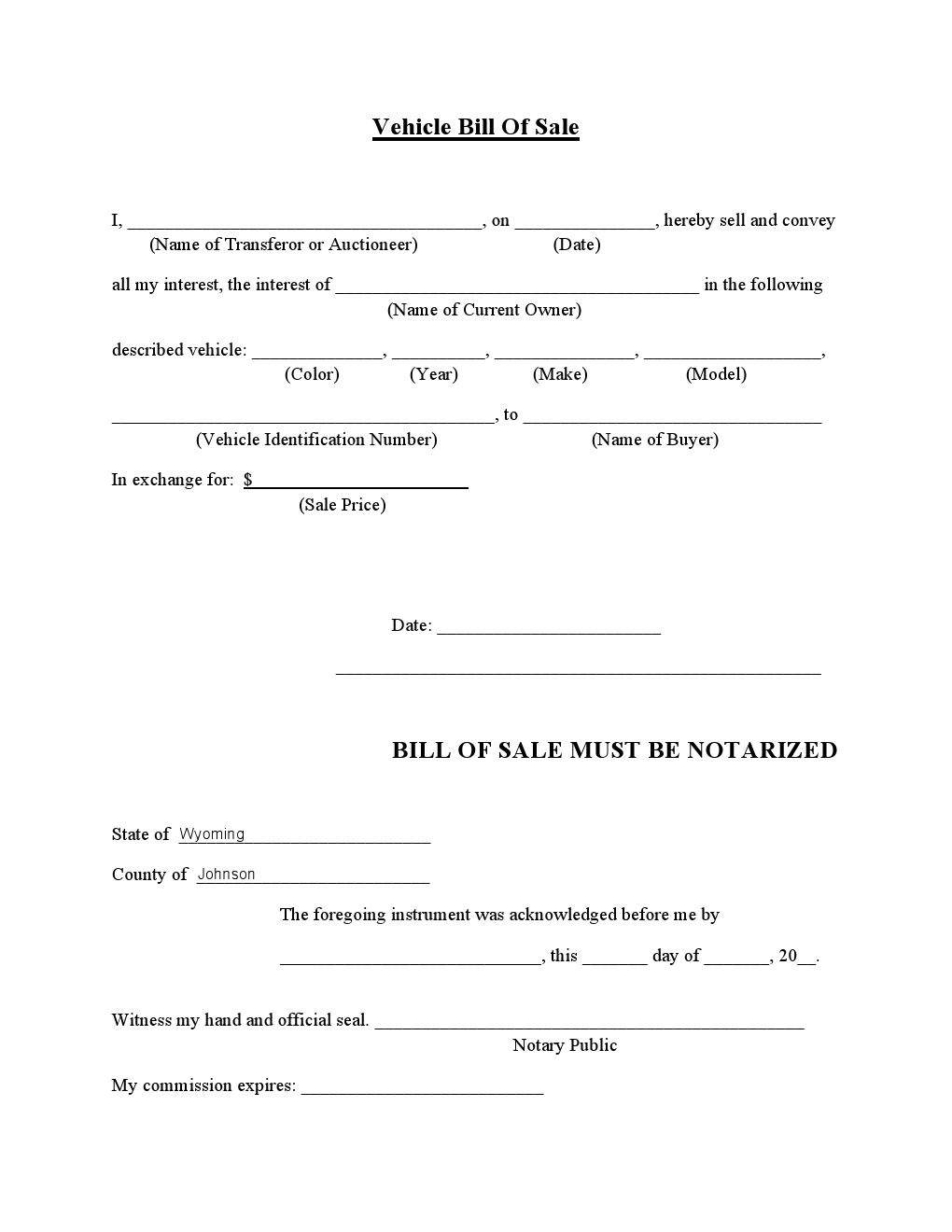Free Johnson Country Vehicle Bill Of Sale Form Download Pdf Word .