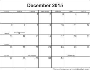 December 2015 blank calendar template