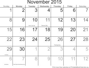 Free calendar November 2015