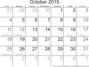 Free calendar October 2015