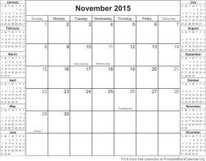 November 2015 calandar