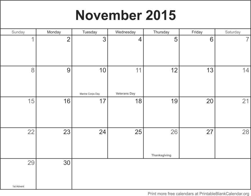 November 2015 printable calendar-template