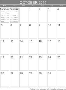 October 2015 blank calendar template