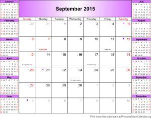 Printable calendar September 2015
