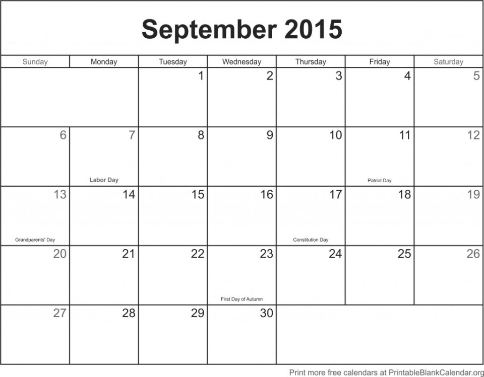 September 2015 printable calendar template