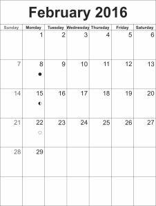 Calendar template february 2016