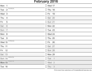 February 2016 printable calendar template