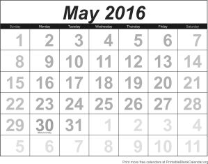 Free calendar May 2016