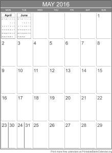 May 2016 blank calendar template