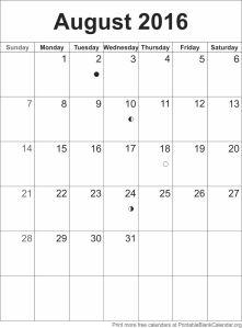 August 2016 blank calendar template