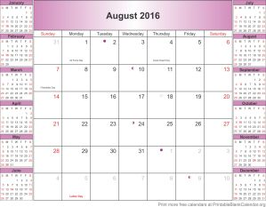 August 2016 calendar with holidays