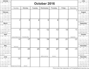 October 2016 calander