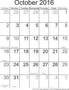 October 2016 calendar with holidays