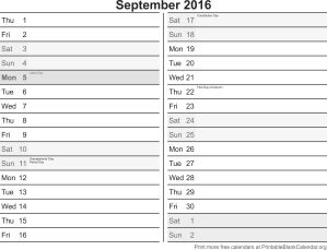 September 2016 calandar
