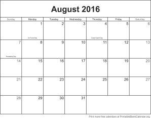free calendar August 2016