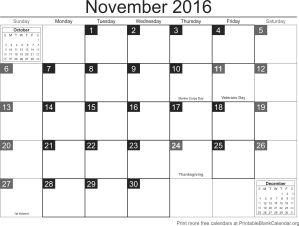 november 2016 blank calendar template