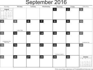 printable calendar September 2016