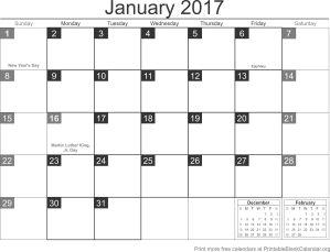 printable calendar January 2017