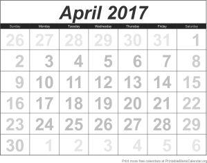 April 2017 calandar