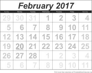 February 2017 blank calendar template