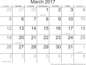 March 2017 montlhy calendar