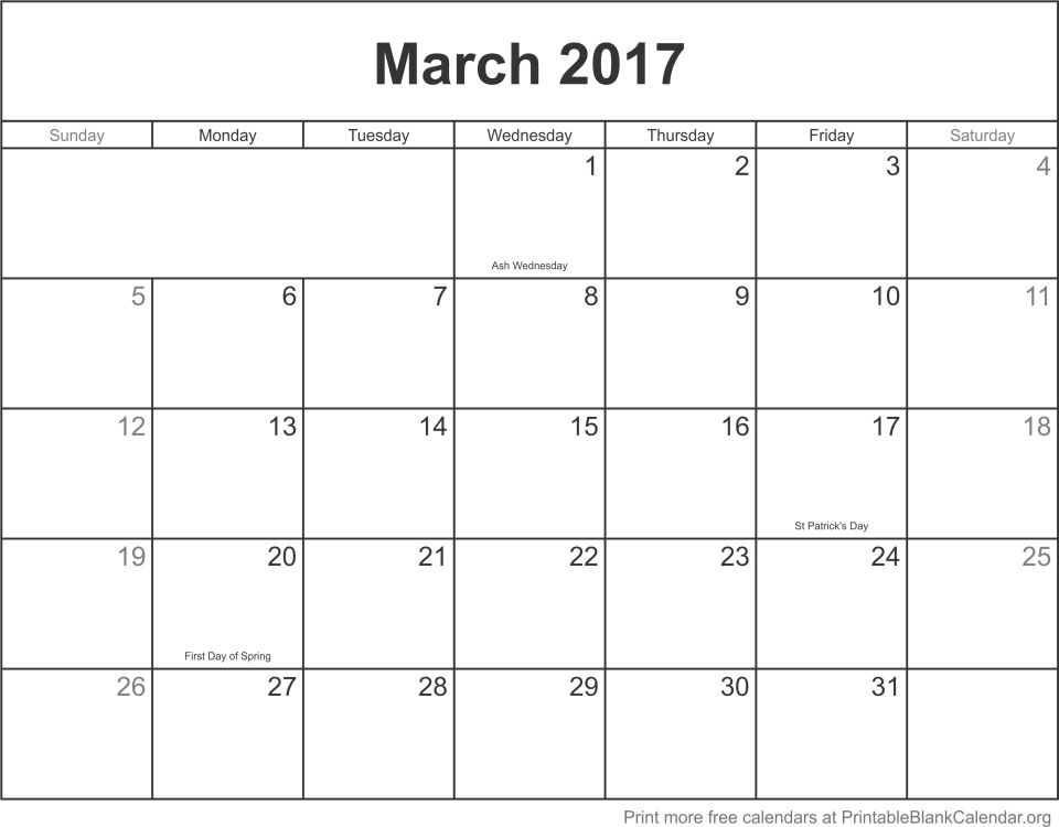 March 2017 printable calendar template