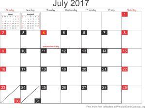 July 2017 calandar