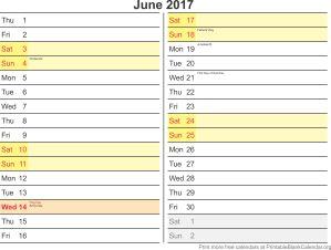June 2017 calandar