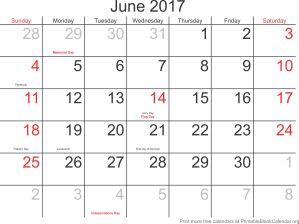 June 2017 montlhy calendar
