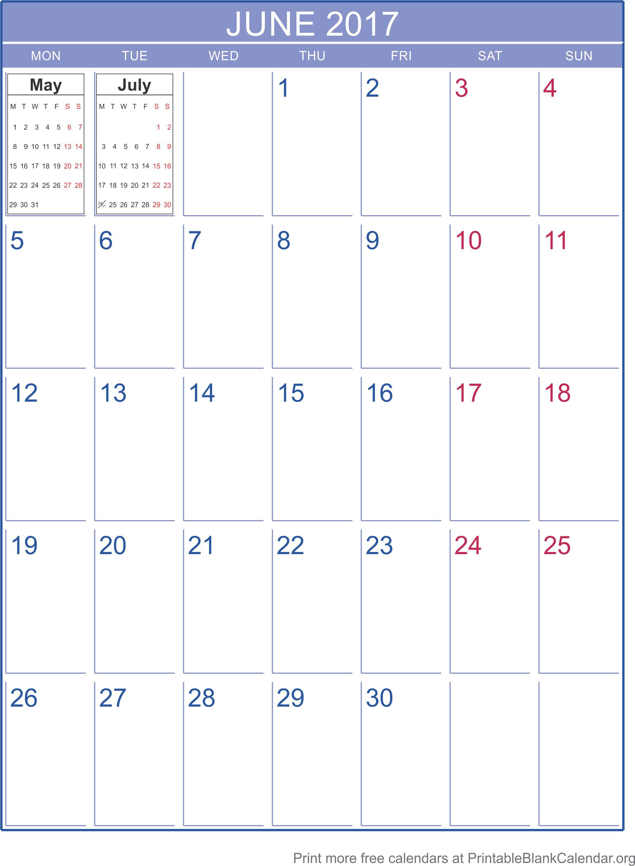 2017 printable blank calendar
